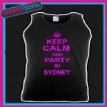 KEEP CALM AND PARTY IN SYDNEY HOLIDAY CLUBBING HEN PARTY UNISEX VEST TOP